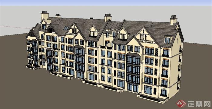 多层欧式英式住宅建筑设计su模型[原创]