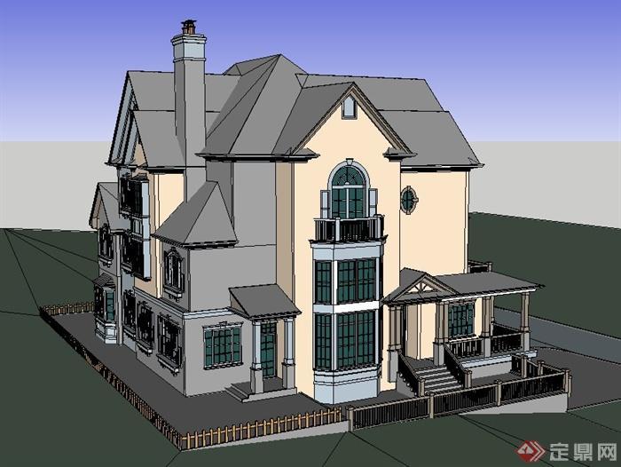 某欧式别墅建筑su模型设计(2)