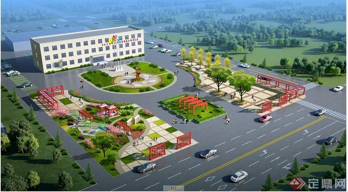 某市政辦公樓廣場景觀規劃設計cad方案圖+jpg效果圖