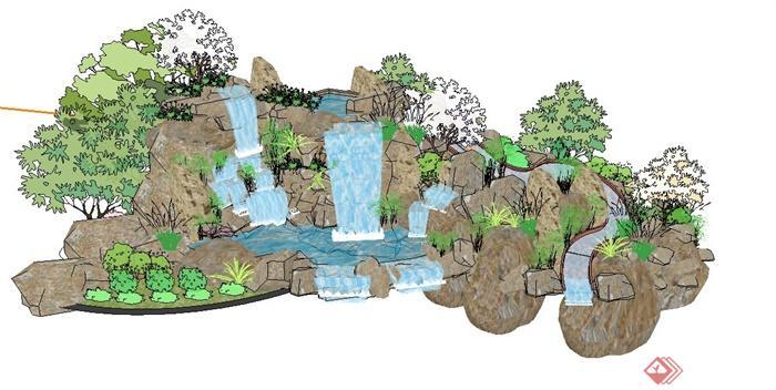 园林景观假山水景瀑布设计su模型(1)