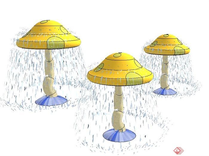 园林景观节点小品蘑菇水亭设计su模型