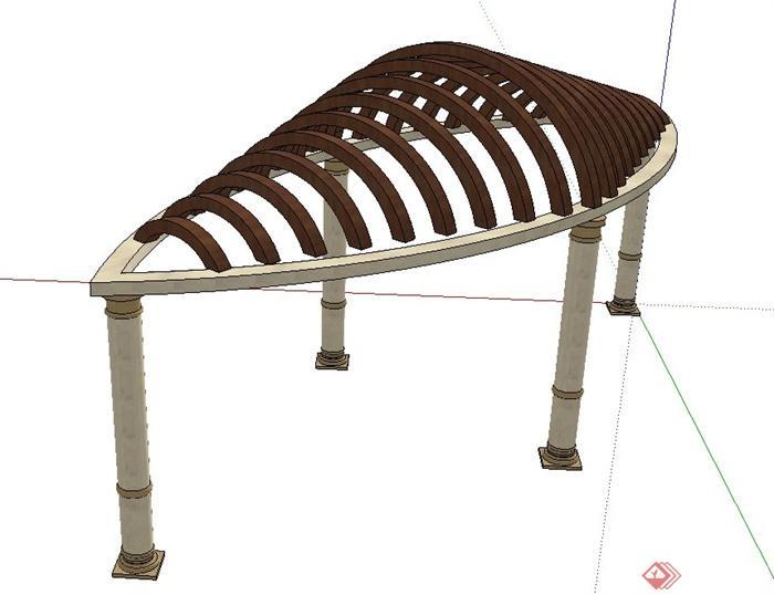 某现代贝壳拱形廊架设计su模型(2)