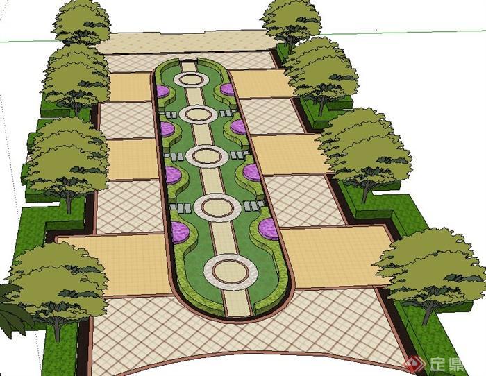 某现代树池花池设计su模型(1)