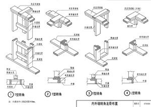 建筑節點內外墻轉角龍骨布置PDF圖