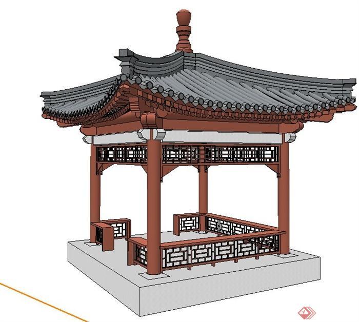 古典中式四角亭su模型图片
