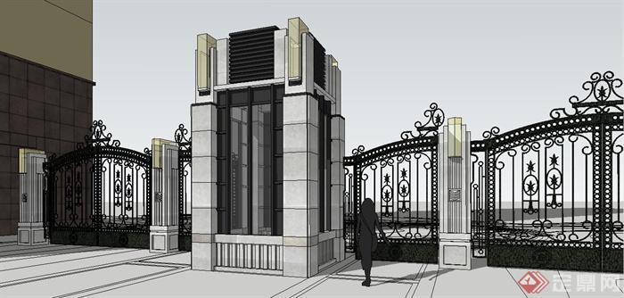 某欧式铁大门设计su模型(1)