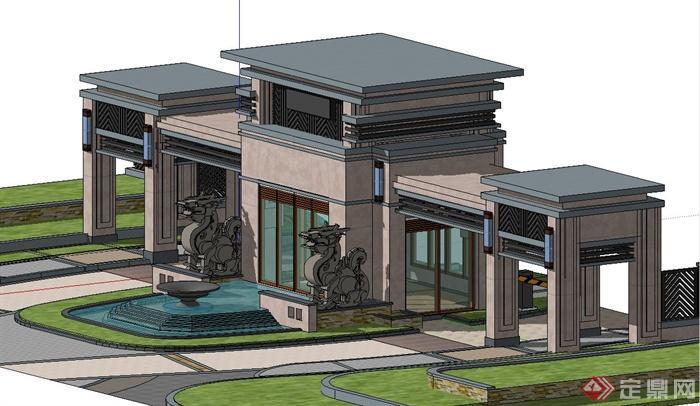 现代中式小区入口大门门廊设计su模型(2)图片