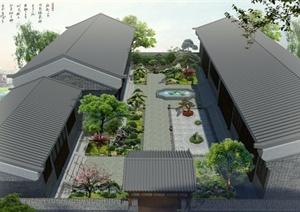 古典中式四合院庭院景观设计PSD效果图