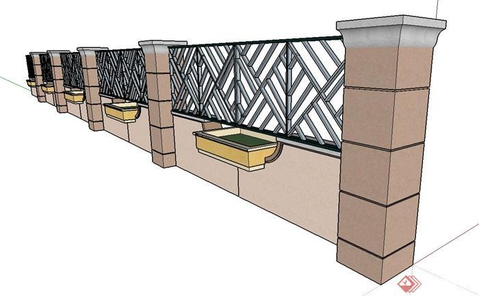 欧式风格景观围墙su模型(3)