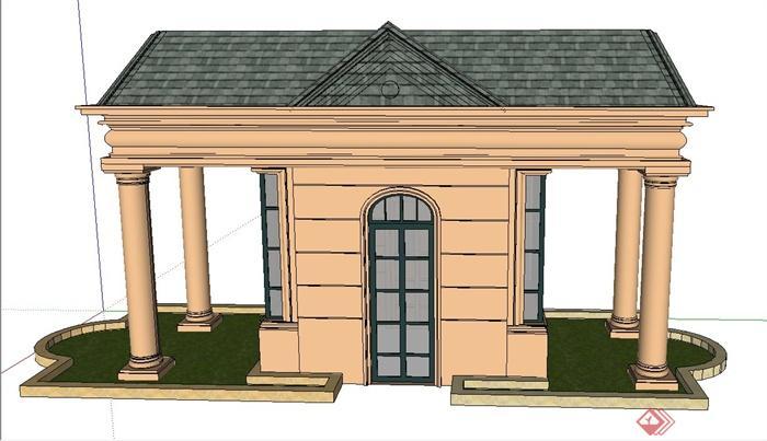 欧式长方形门卫亭设计su模型(1)
