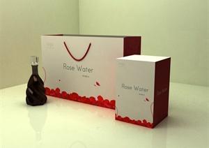 玫瑰香水包装设计(含cad、ps、3d模型)