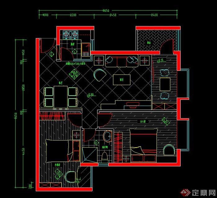 某两室一厅居住空间装修设计CAD施工图