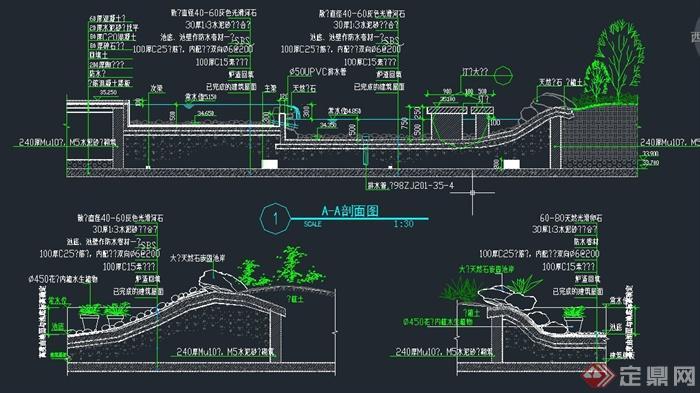 > 园林景观节点水池驳岸设计cad施工图,该图纸内容有驳岸设计剖面图