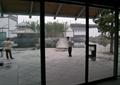 玻璃门,地面铺装,地灯,双亭