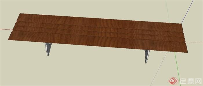 木质长凳设计su模型(4)