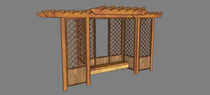 现代中式木廊架su模型(栅栏)[原创]