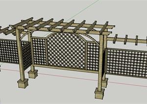 现代中式、花架设计SU(草图大师)模型