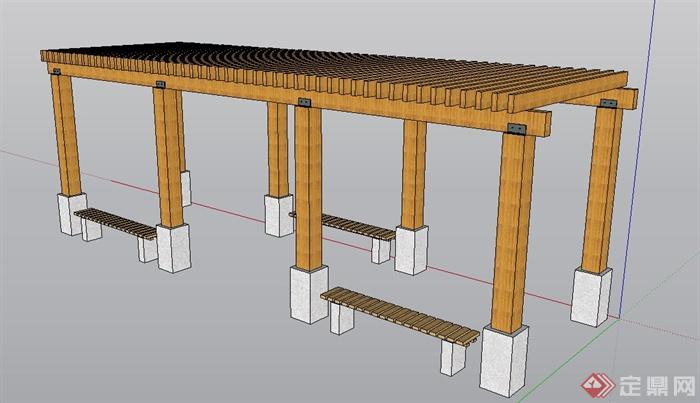 条形木质花架设计su模型[原创]
