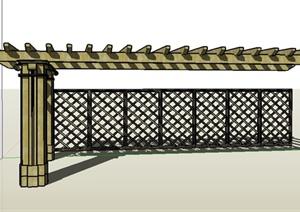 条形带屏风廊架设计su(草图大师)模型图片