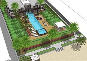 现代别墅庭院花园设计su(草图大师)模型图片