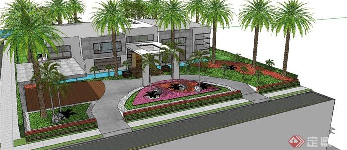 现代别墅庭院花园设计su模型(2)
