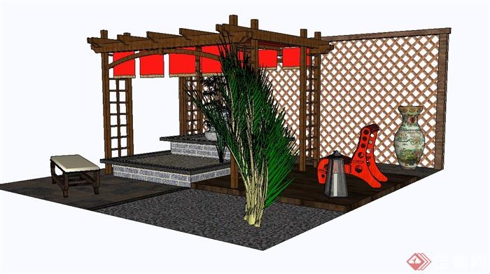 某现代中式屋顶花园设计su模型(2)
