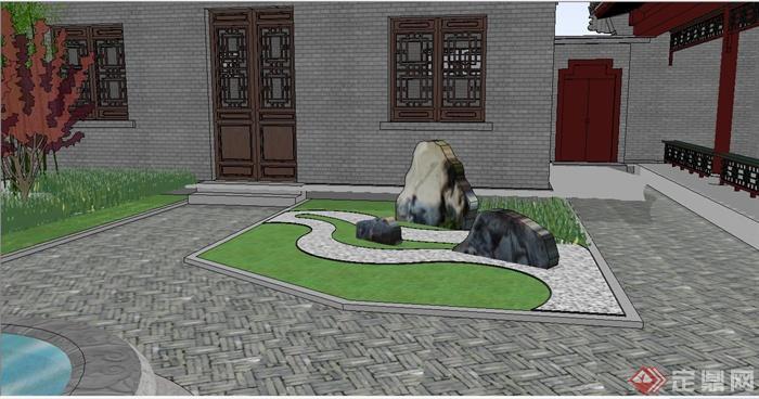 别墅中庭设计,建筑中庭景观设计手绘,中庭景观设计