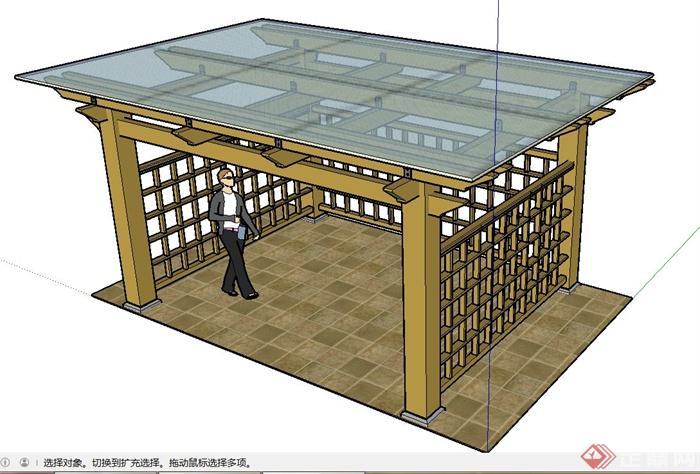 长方形玻璃亭子设计su模型(1)