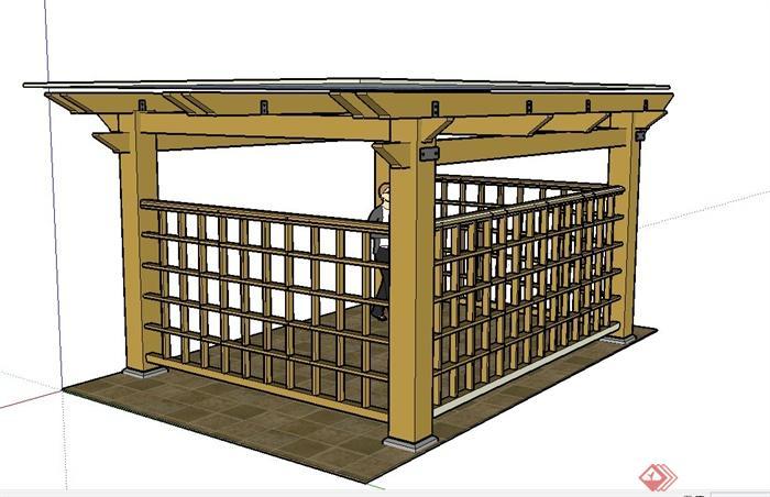 长方形玻璃亭子设计su模型(2)