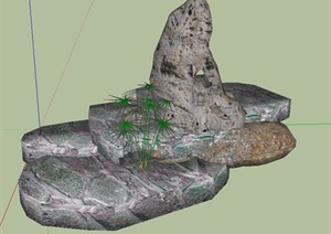 园林景观节点景石置石设计SU(草图大师)模型