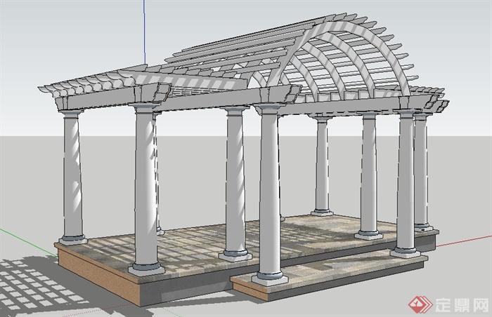 欧式拱形廊架设计su模型[原创]