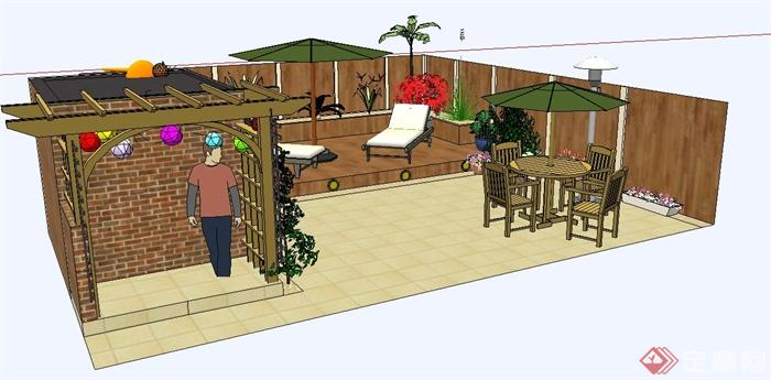 屋顶花园设计su模型(含廊架,座椅)(2)