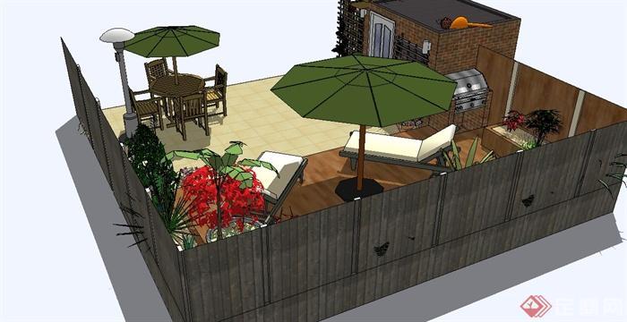 屋顶花园设计su模型(含廊架,座椅)(3)