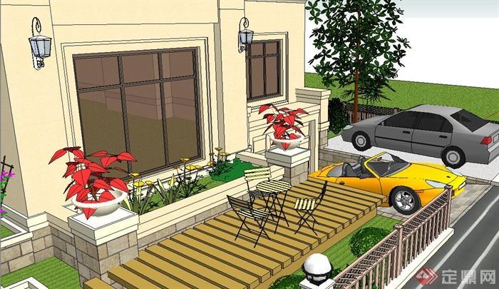 某两层欧式风格别墅庭院景观景观设计SU模型,该模型内容有停车位、木平台、桌椅、水池、水生植物、花池、坏中尉、汀步、草坪、阳台景观等,模型有材质贴图,有需要的朋友请自行下载。