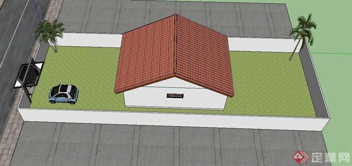 某现代农村瓦房住宅建筑设计jpg效果图