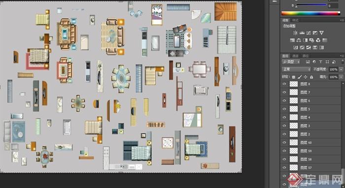 建筑户型家具的设计psd平面图[原创]
