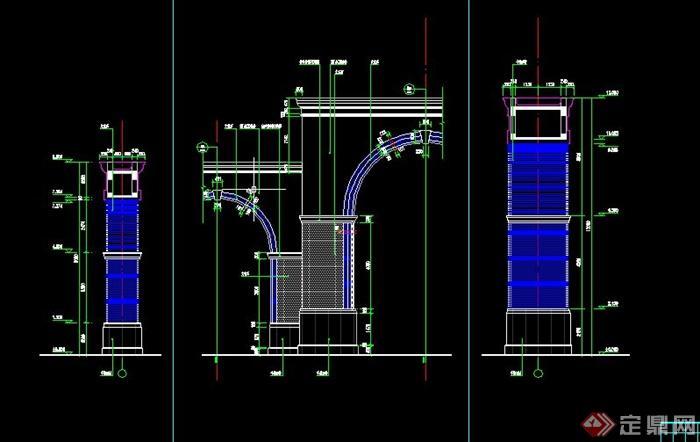 欧式弧形大门建筑设计cad施工图[原创]