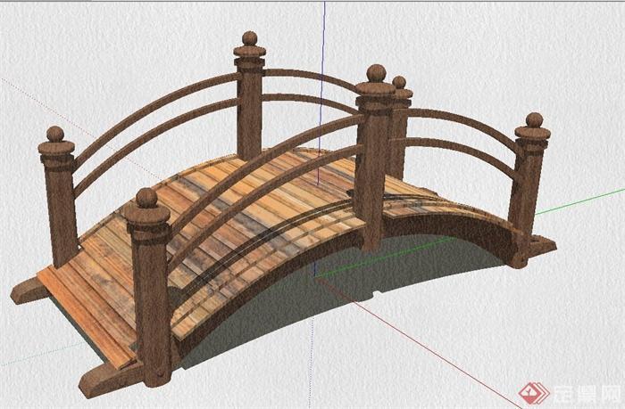 园林景观木木质园拱桥设计su模型[原创]