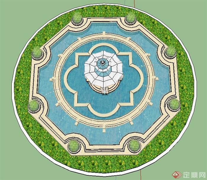 园林水景欧式喷泉su设计模型[原创]
