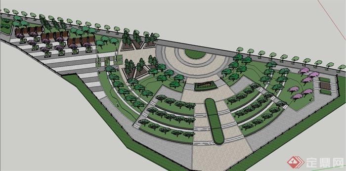 某滨水三角形广场景观规划设计su模型[原创]
