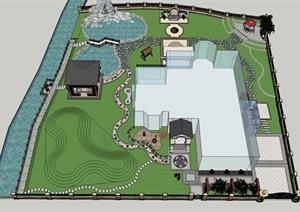某滨河别墅庭院景观设计SU(草图大师)模型