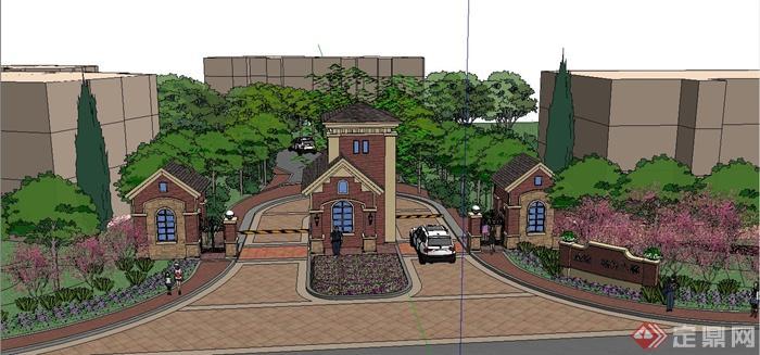某欧式住宅小区入口大门景观设计su模型(1)