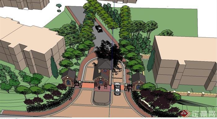 某欧式住宅小区入口大门景观设计su模型[原创]
