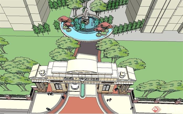 某住宅小区入口大门与景观设计su模型[原创]
