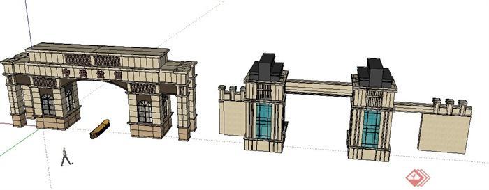 两款欧式大门su设计模型[原创]