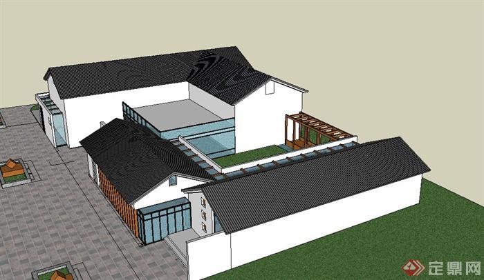 古典中式單層綜合辦公樓建筑設計su模型(2)