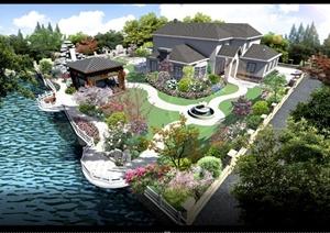 混搭式住宅庭院景观设计PSD效果图