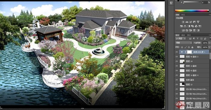 混搭式住宅庭院景观设计psd效果图[原创]