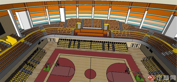 现代椭圆形室内篮球场篮球馆su模型[原创]