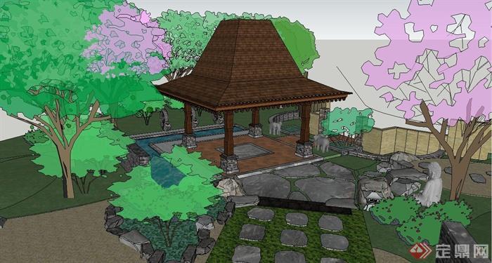 某东南亚风格私家温泉庭院景观设计SU模型